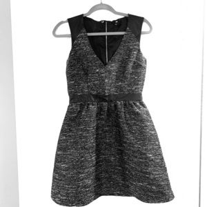 H&M Black Tweed and Faux Leather Dress